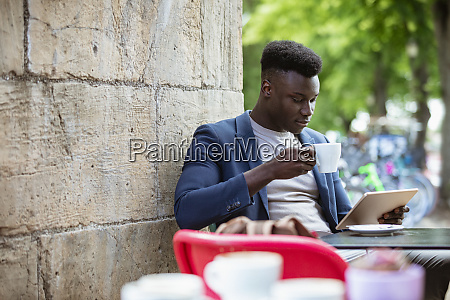 businessman enjoying a peaceful lunch