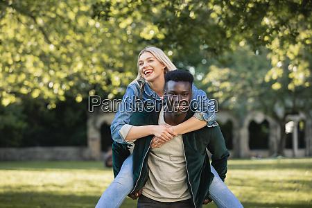 carefree and happy piggyback