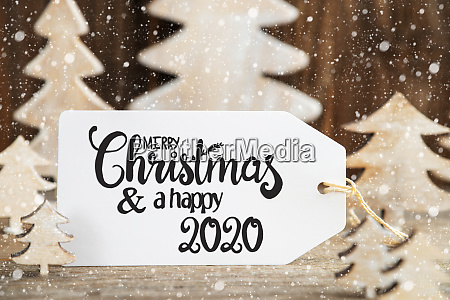 christmas tree label with merry christmas