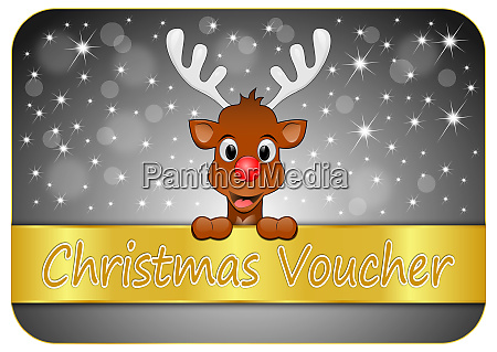 decorative glossy silver christmas voucher with