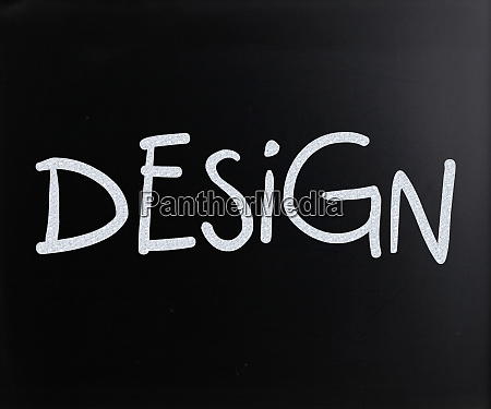 the word design handwritten with white