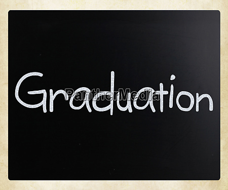 the word graduation handwritten with white