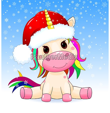 unicorn baby on a winter background