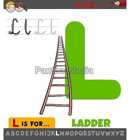 letter l worksheet with cartoon ladder
