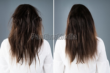 womans hair before and after hair