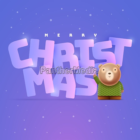 little cute bear and christmas new