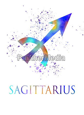 sagittarius zodiac sign in watercolor