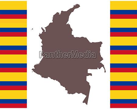 landkarte von kolumbien auf hintergrund mit