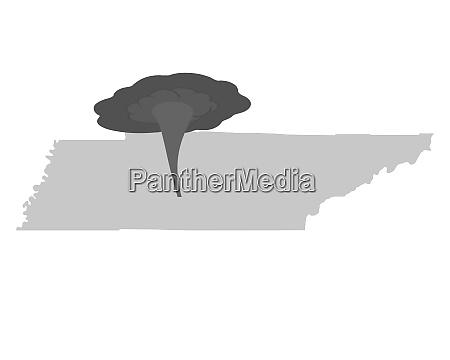karte von tennessee und tornadosymbol