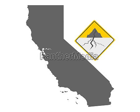 karte von kalifornien und erdbebenwarnschild