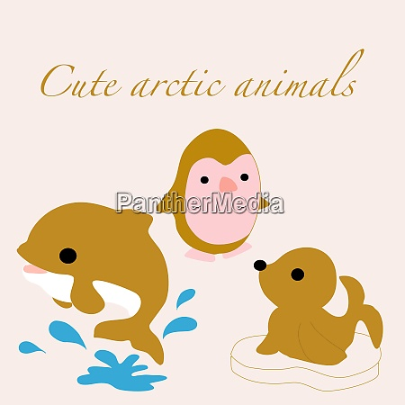 golden arctic animals in a vector