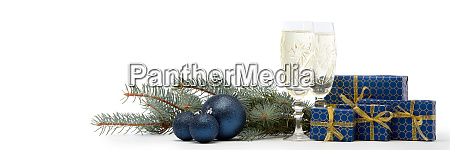gift boxes champagne and christmas ornaments