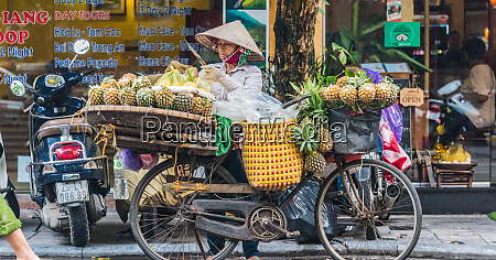 vietnamese woman selling fruit on a