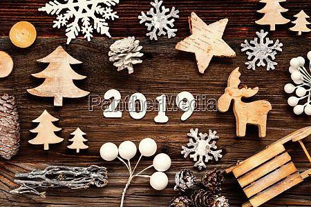 wooden christmas decoration 2019 tree fir