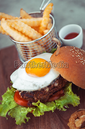 egg burger with fries