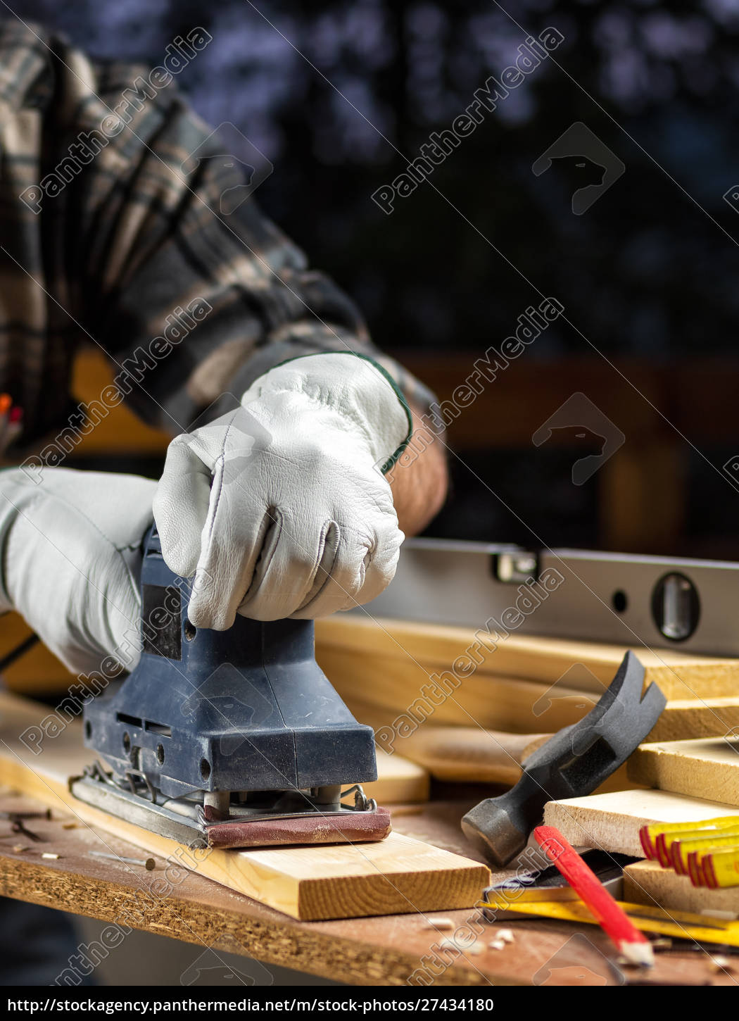 craftsman, at, work, on, wooden, boards. - 27434180