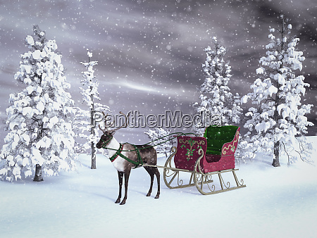 3d rendering of a reindeer with