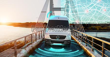 autonomous electric car driving on a