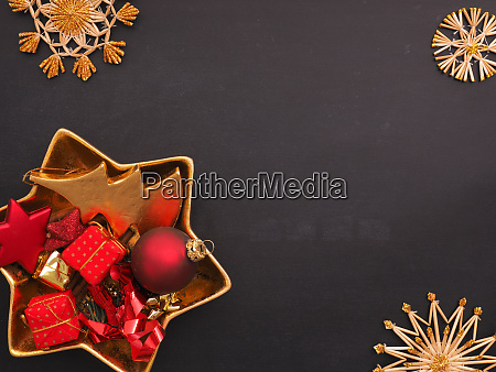 golden and red christmas items