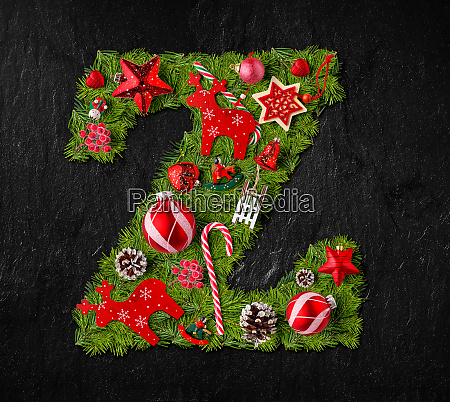 letter z made of christmas tree