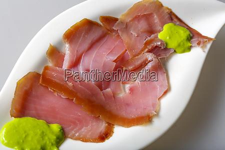 smoked tuna with horseradish wasabi cream