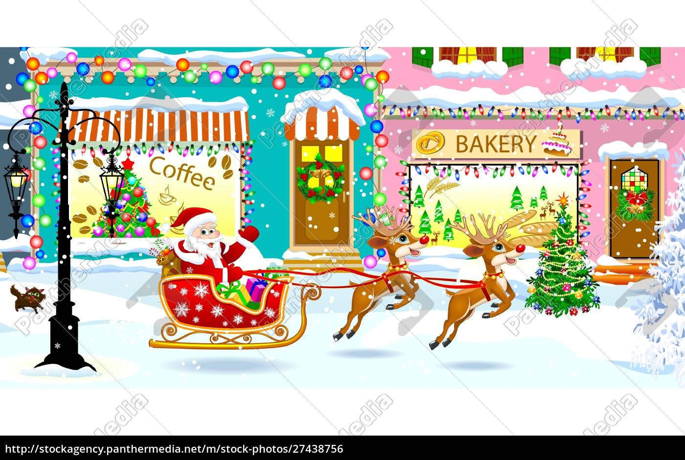 santa, claus, on, a, sleigh, with - 27438756