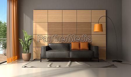 modern living room with black leather
