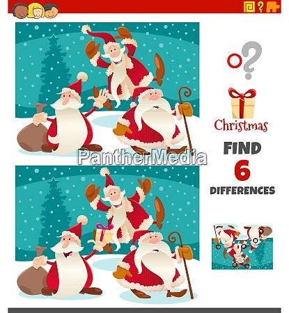 differences game with santa claus characters