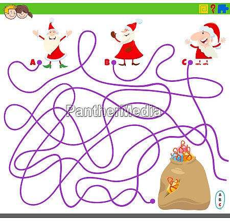 maze game with santa claus and