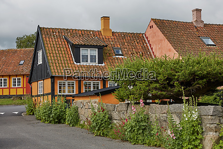 traditional colorful half timbered houses on