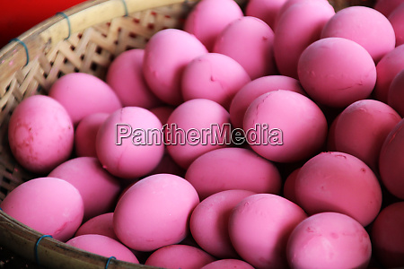 millennial pink duck eggs in a