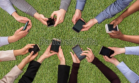 hands social networking with mobile cellphones