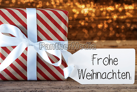 christmas present label frohe weihnachten means