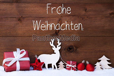 reindeer gift tree ball snow frohe