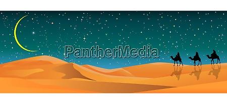 camel travelers in the sand desert