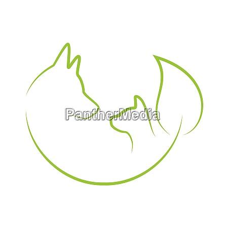 dog cat leaf animal healer logo