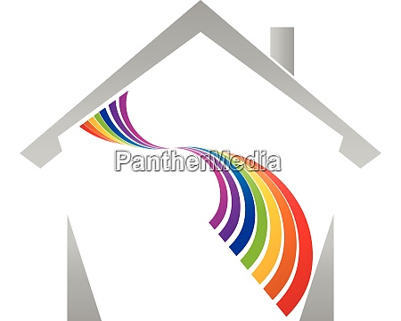 house and rainbow spiral painter logo