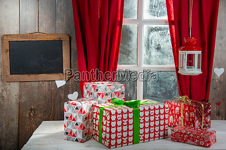 christmas gifts decoration near the rustic