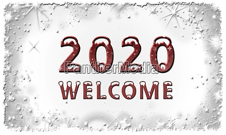 year 2020 with lettering welcome on