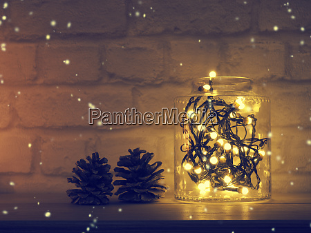 christmas lights in a jar on