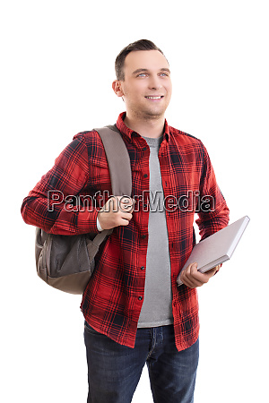 smiling male student in casual clothing