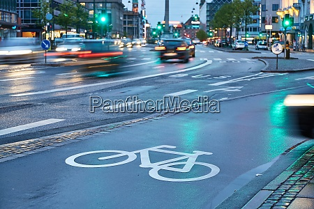 bicycle lane in the rain