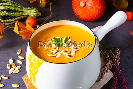 pumpkin cream soup with roasted pumpkin