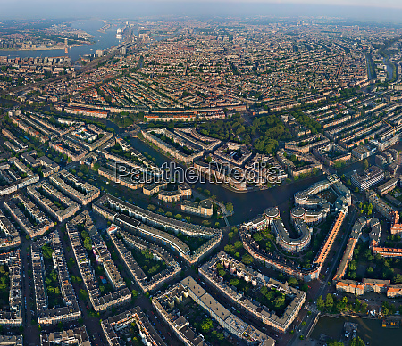 aerial view of amsterdam neighbourhood netherlands