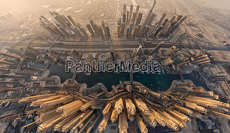 aerial view above dubai under development