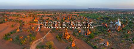 panoramic aerial view of bagan myanmar
