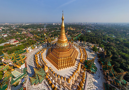 aerial view of shwedagon pagoda myanmar