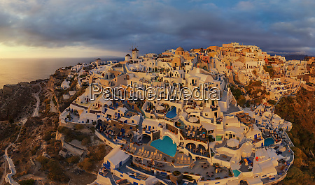 aerial view of thira city during