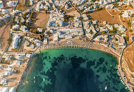aerial view above of mykonos island