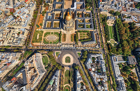 aerial view of les invalides complex
